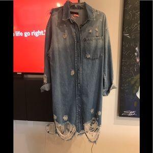 Dresses & Skirts - Distressed Denim dress / jacket